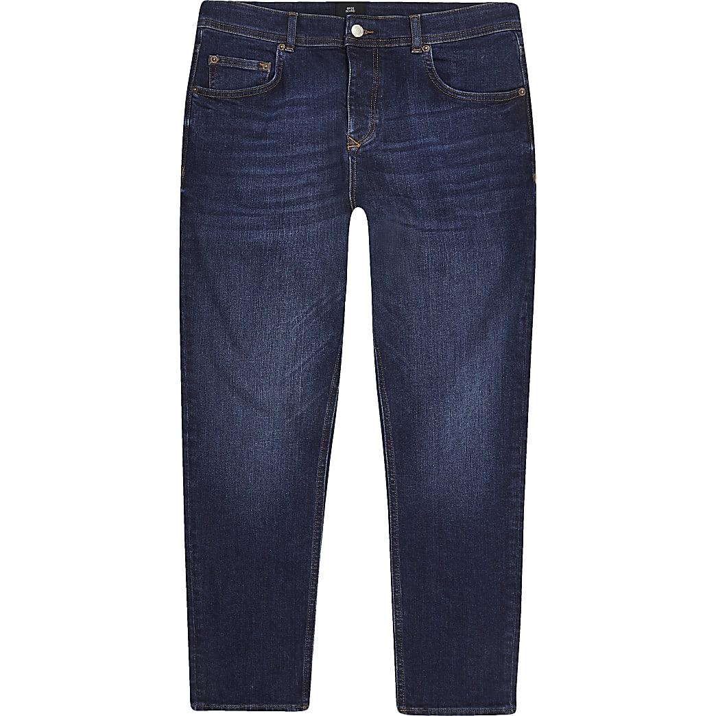 Jimmy - Donkerblauwe smaltoelopende cropped jeans