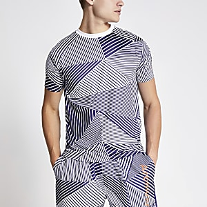 Arcminute - Blauw T-shirt met geometrische print