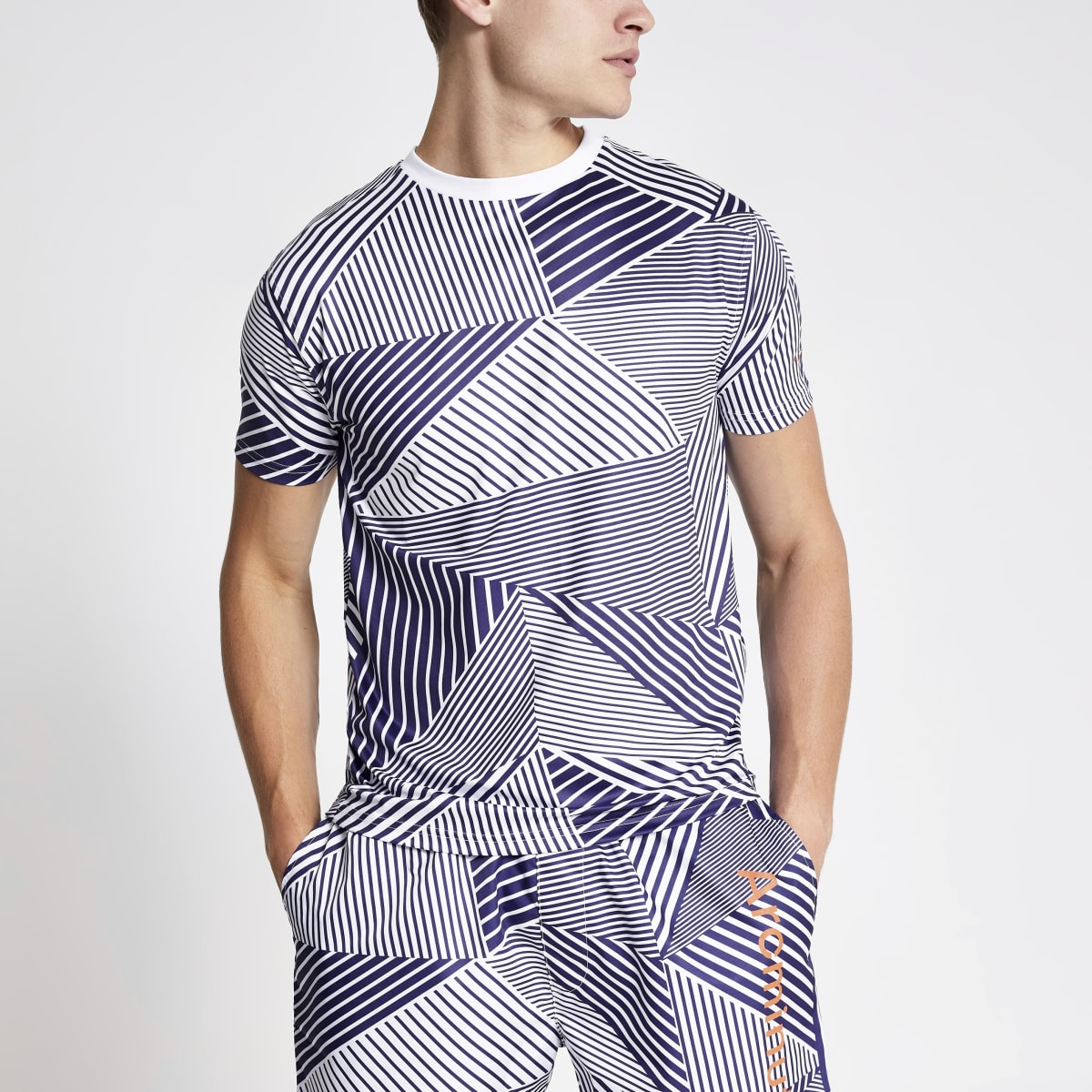 Arcminute blue geo print T-shirt