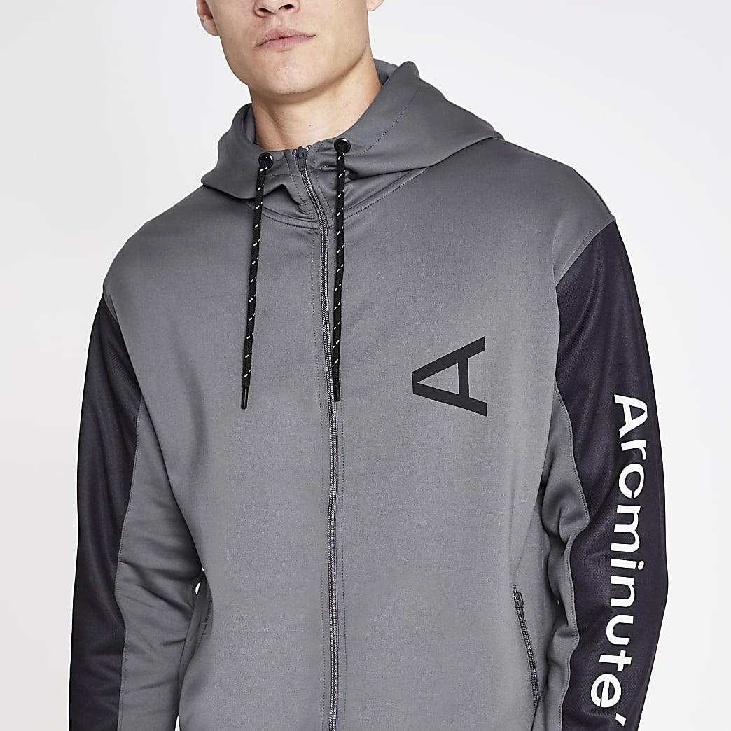 Arcminute – Sweat à capuche gris zippé