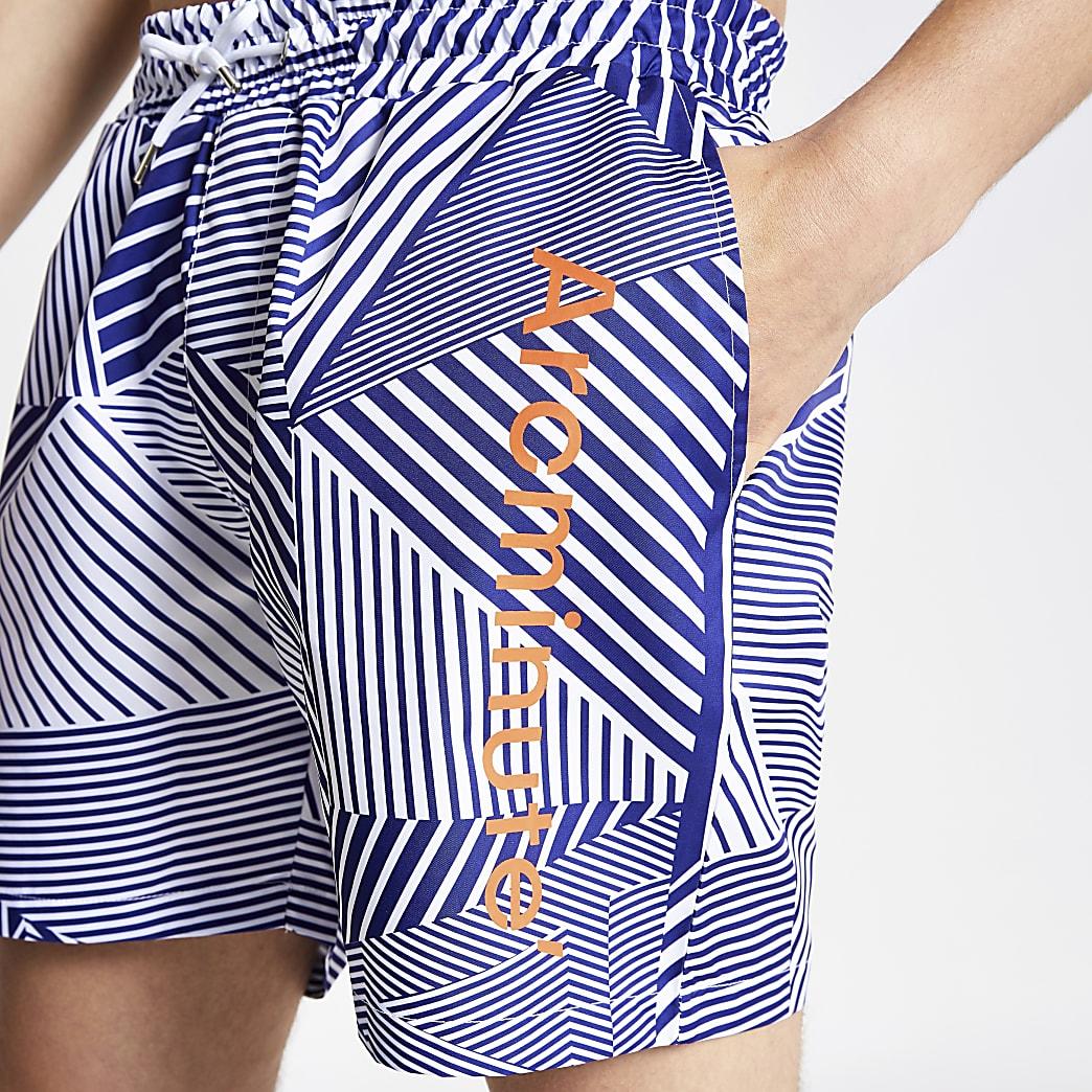 Arcminute blue geo print swim shorts