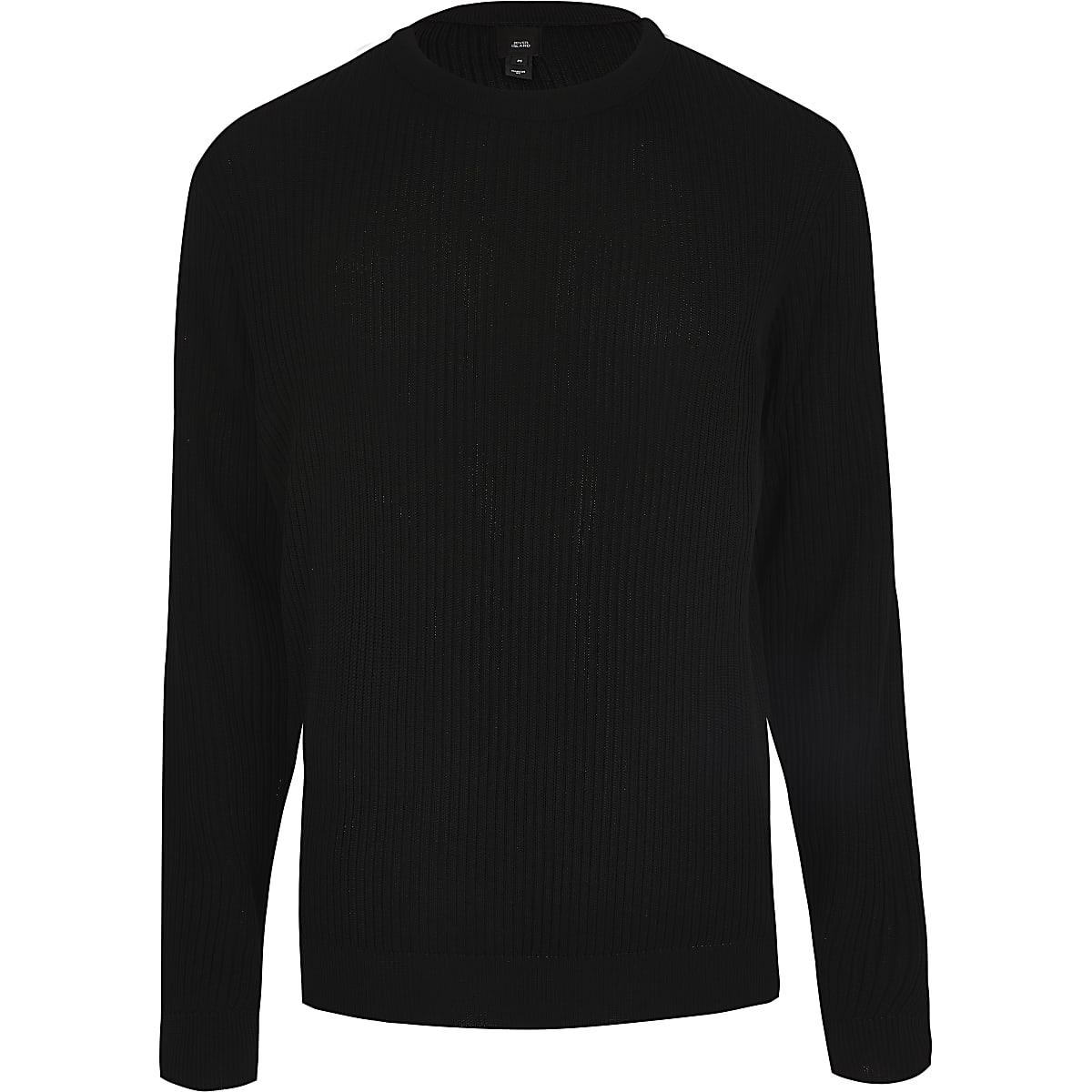 Black rib knitted slim fit jumper