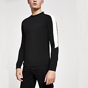 Zwarte sllim-fit top met strepen en lange mouwen
