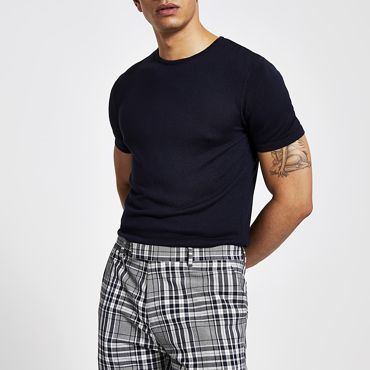 Marineblauw slim-fit gebreid T-shirt