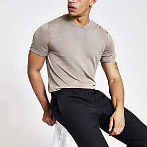 Steingraues Slim Fit Strick-T-Shirt