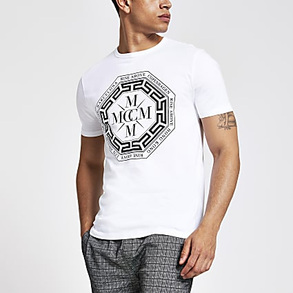 White printed slim fit T-shirt