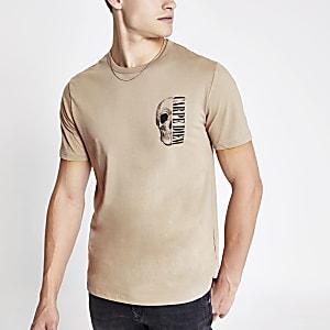 Kiezelkleurig slim-fit T-shirt met 'carpe diem'-print