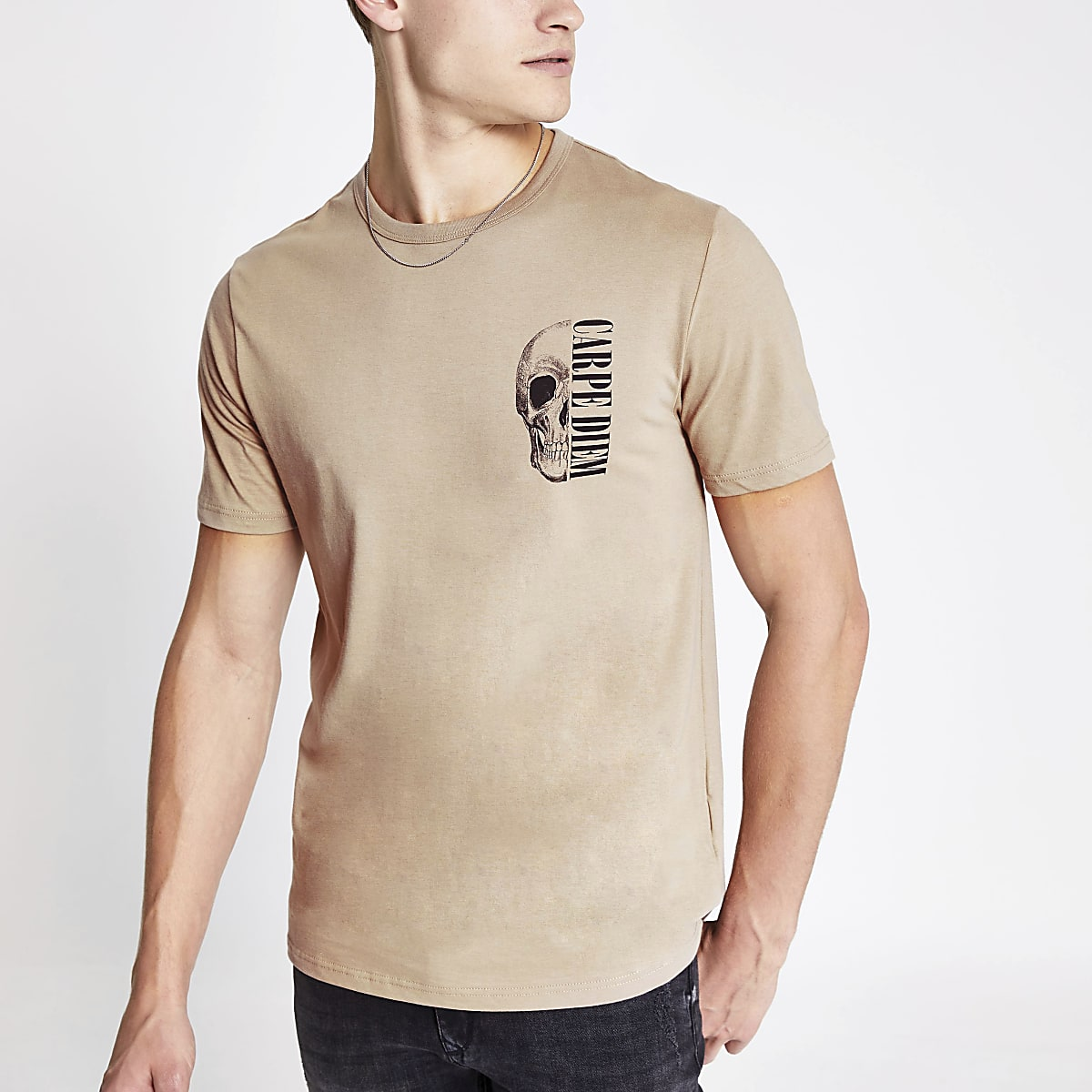 Stone slim fit 'carpe diem' print T-shirt