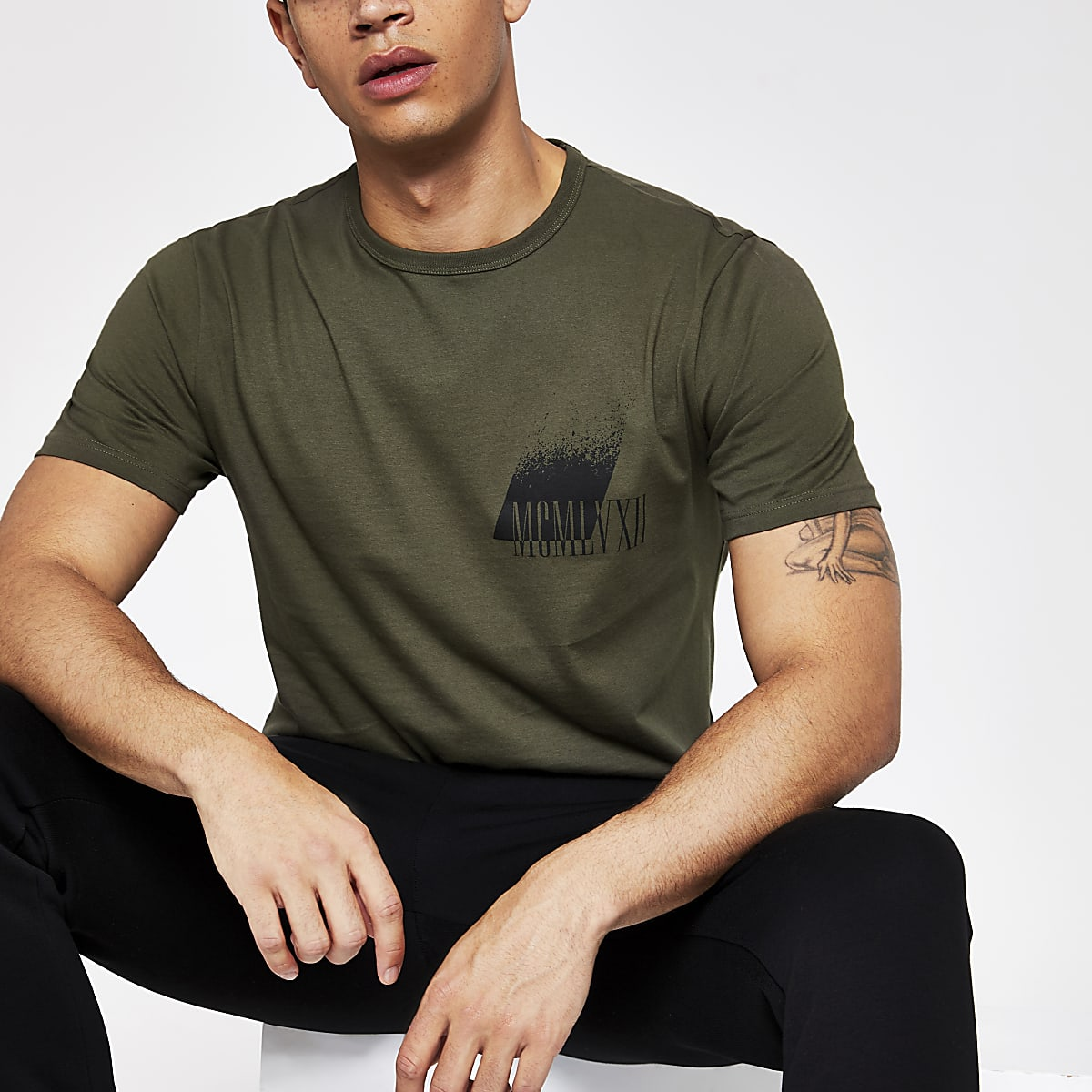 Khaki printed slim fit T-shirt