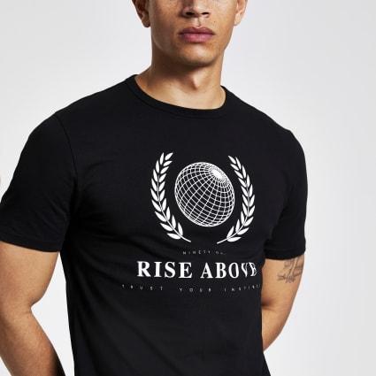 Black printed slim fit T-shirt