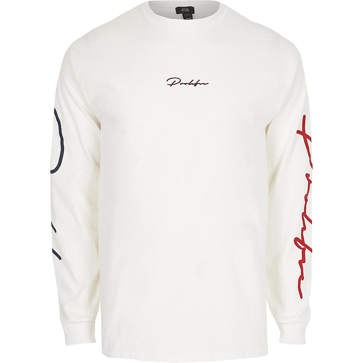 White 'Prolific' long sleeve print T-shirt