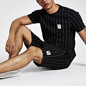 """Schwarzes, gestreiftes Slim Fit T-Shirt """"Maison Riviera"""""""