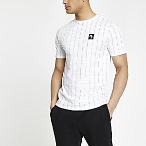 Wit gestreept smal T-shirt met 'Maison Riviera'-print