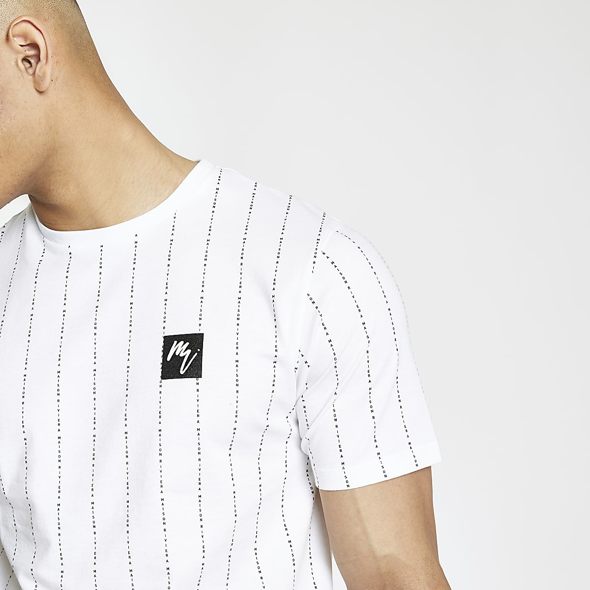 e3ebe736a1a098 White  Maison Riviera  stripe slim T-shirt - T-shirts - T-Shirts ...