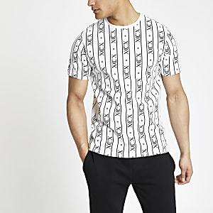 """Weißes, gestreiftes Slim Fit T-Shirt """"XCX"""""""