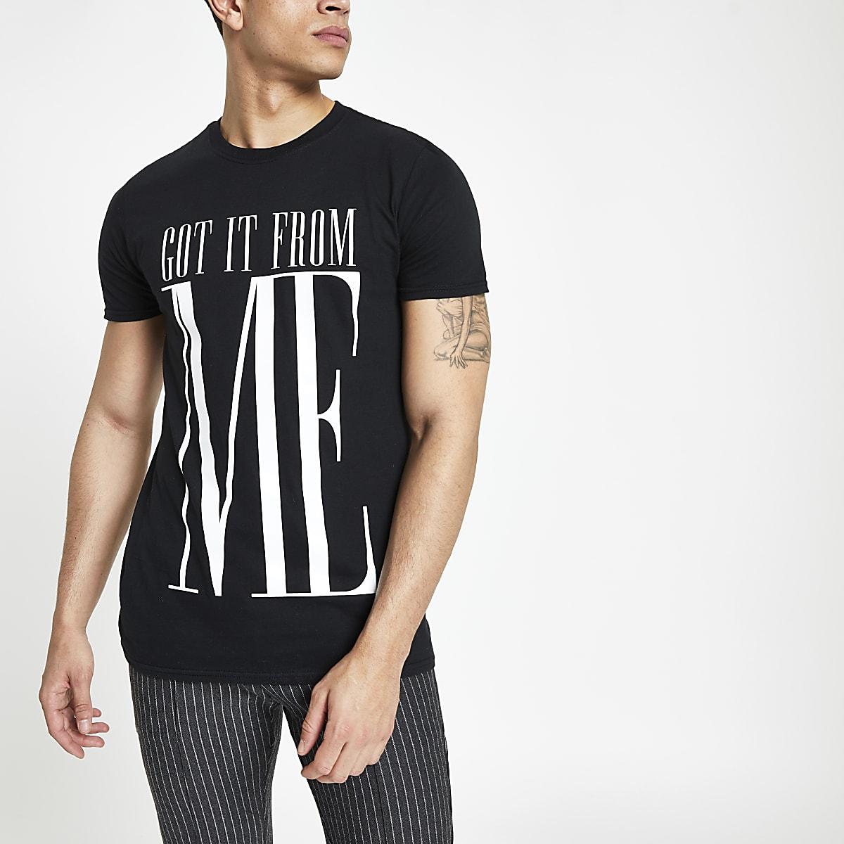 Zwart twinning T-shirt met 'Got it from me'-print