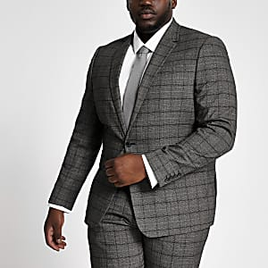 Big and Tall – Veste de costume gris foncé à carreaux