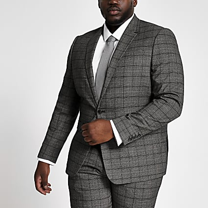 Big and Tall dark grey check suit jacket
