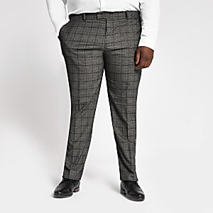 Big and Tall – Pantalon de costume gris foncé à carreaux