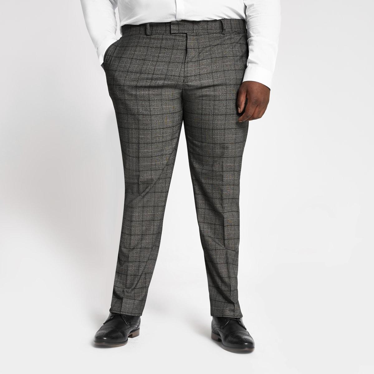 Big and Tall - Donkergrijze geruite pantalon
