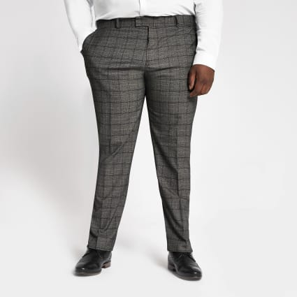 Big and Tall dark grey check suit trousers