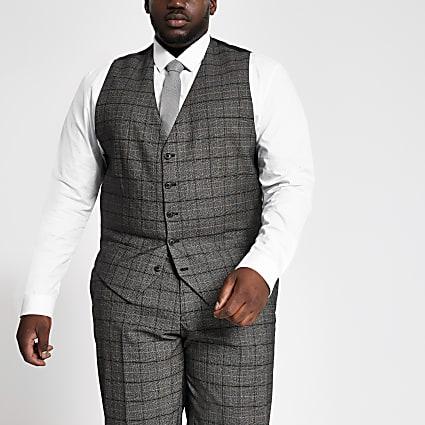 Big and Tall dark grey suit wasitcoat