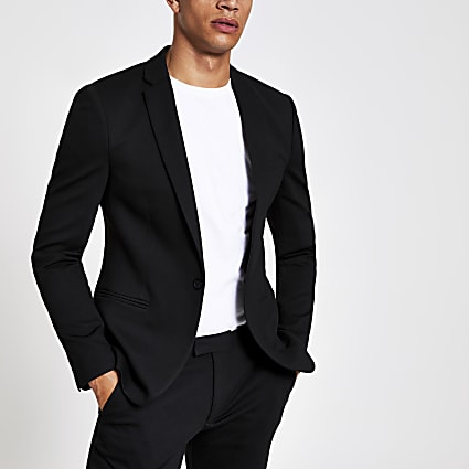 Black super skinny suit jacket