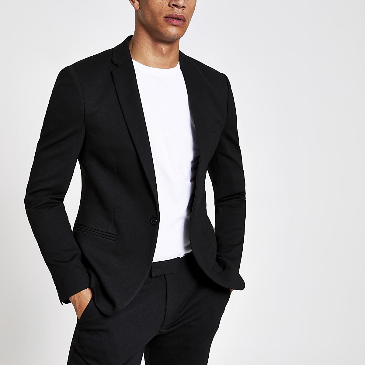 Black super skinny suit jacket