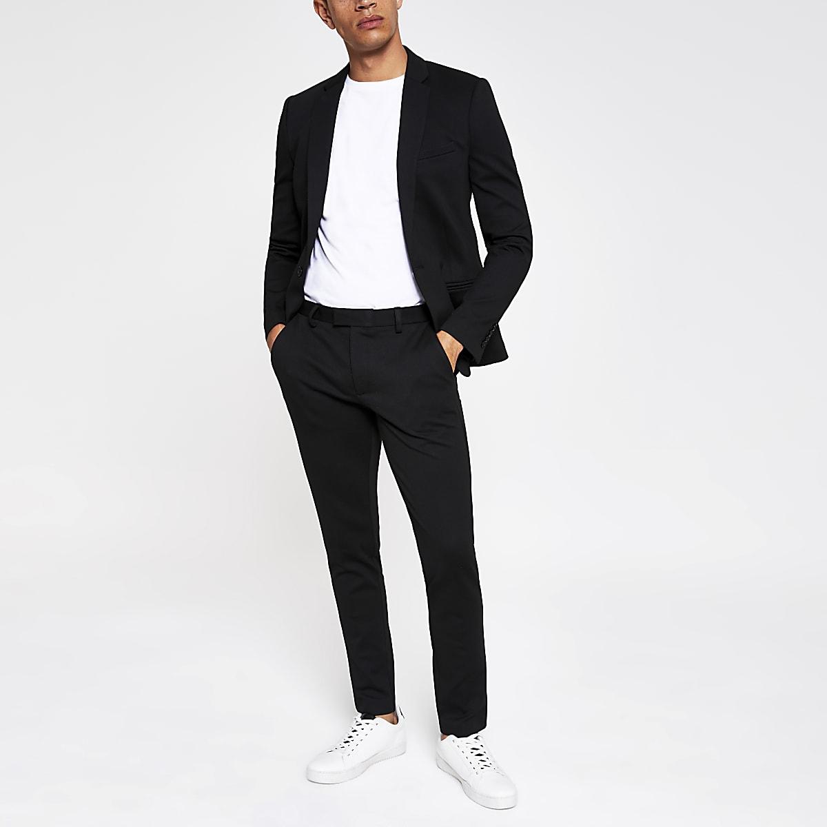Black super skinny suit pants