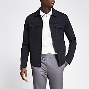 Navy skinny fit western jacket