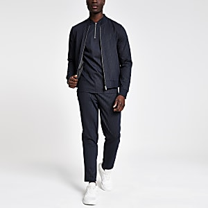 Navy pinstripe slim fit bomber jacket