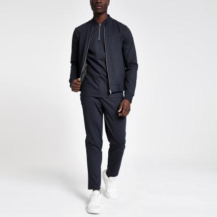 Navy pinstripe slim fit bomber jacket