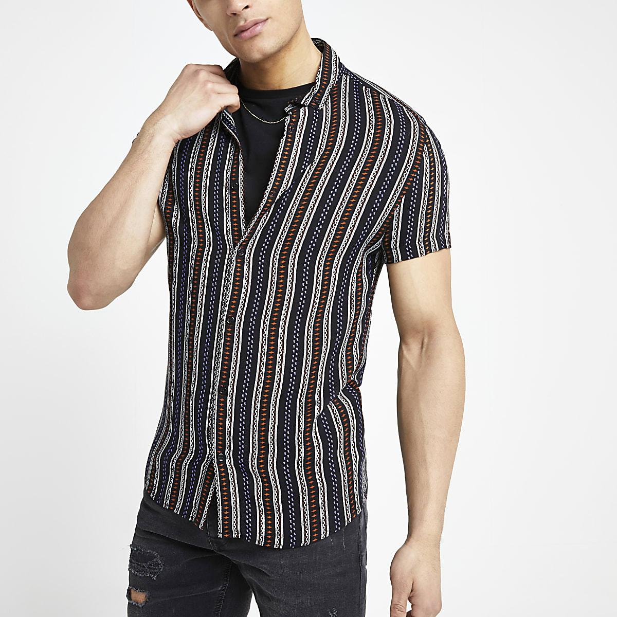 Chemise à rayures et imprimé aztèque noire