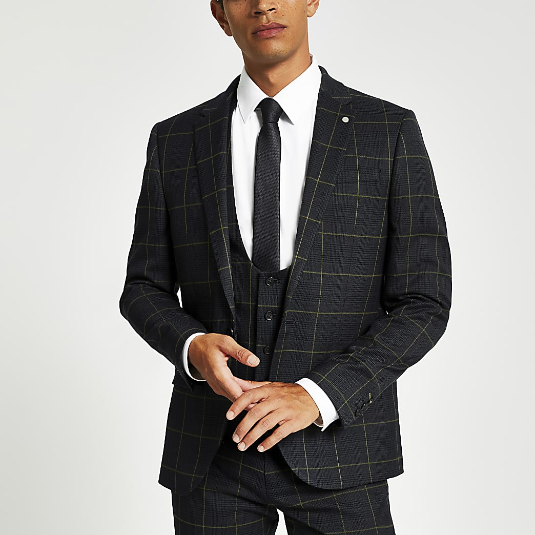 Green check skinny fit suit jacket