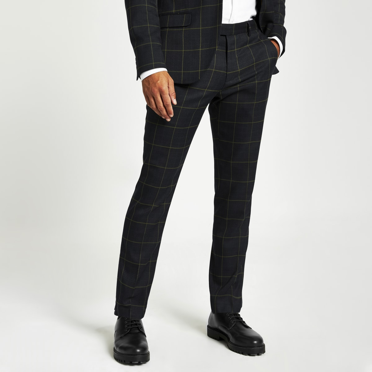 Pantalon de costume à carreaux vert skinny