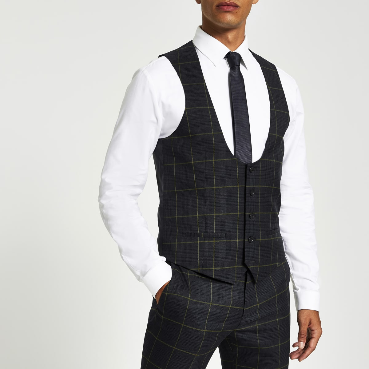 Green check suit waistcoat