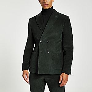 Veste de costume skinny et croisée en velours vert