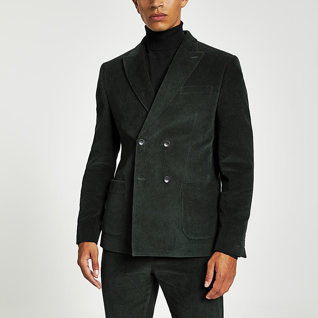 Green cord double breasted skinny suit jacket