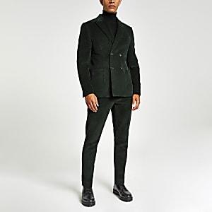 Grüne Skinny Fit Anzughose aus Cord
