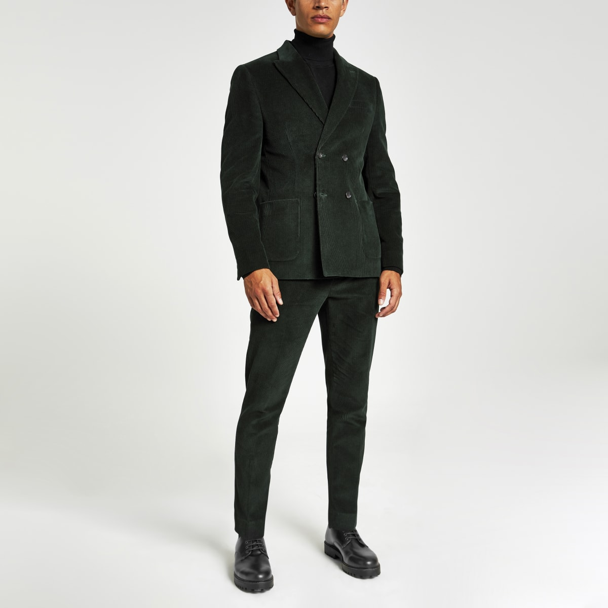 Green cord skinny suit trousers