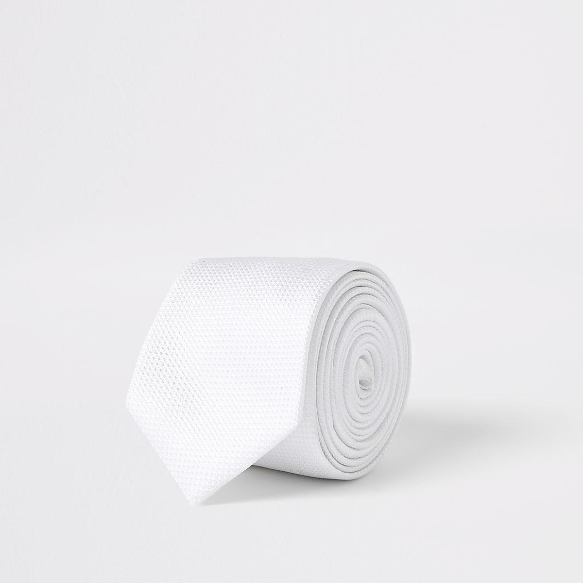 White textured tie