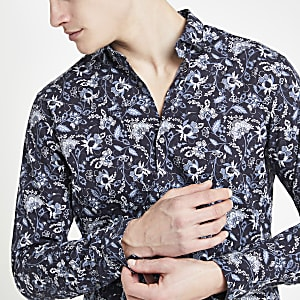 Jack & Jones – Chemise à fleurs bleu marine