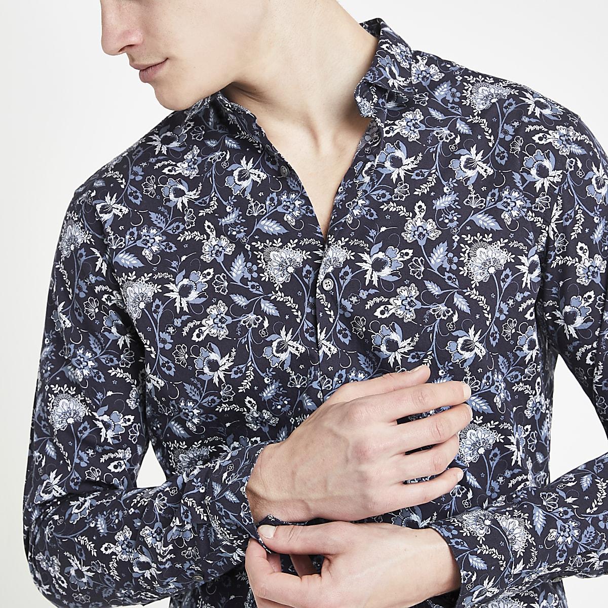 Jack & Jones navy floral print shirt