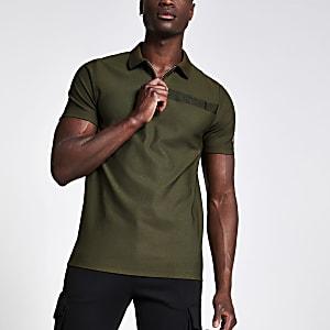 Khaki Slim Fit Poloshirt mit Reißverschluss