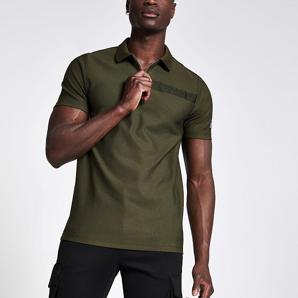 Khaki slim fit zip polo shirt