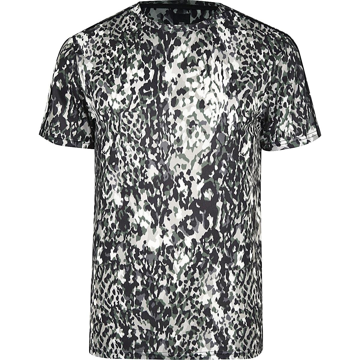 Big & Tall – Slim T-Shirt in Khaki mit Animal-Print