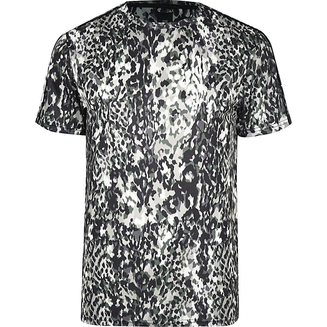 Big and Tall khaki slim animal print T-shirt