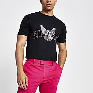 Zwart verfraaid T-shirt met print