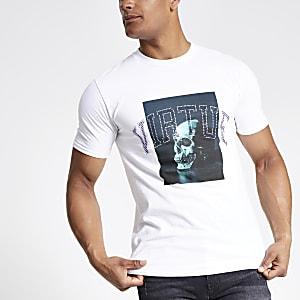 T-shirt imprimé blanc orné