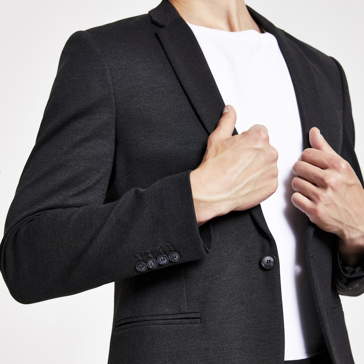 Veste de costume super skinny gris foncé
